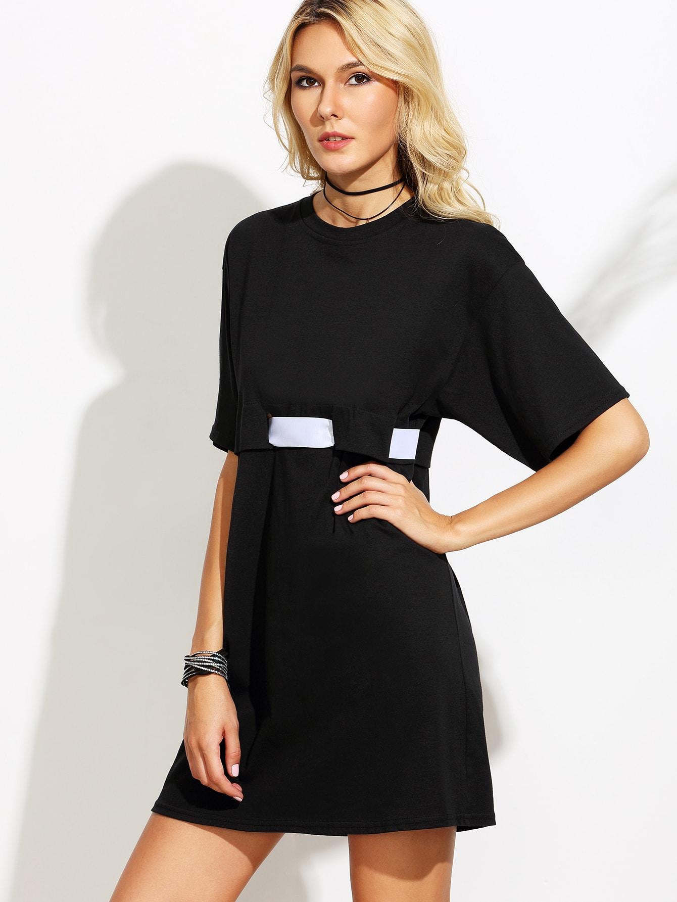 black dress with white belt shein sheinside
