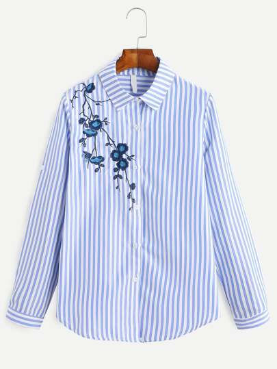 Blue Vertical Striped Embroidered Roll Tab Sleeve Shirt