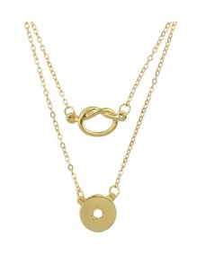 Gold Double Layers Pendant Necklace