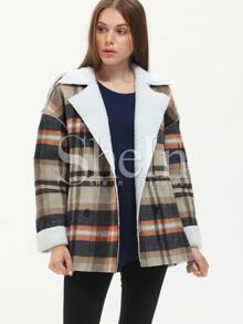 Multicolor Long Sleeve Lapel Plaid Coat