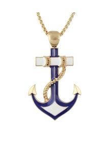 Gold Enamel Anchor Shape Long Necklace
