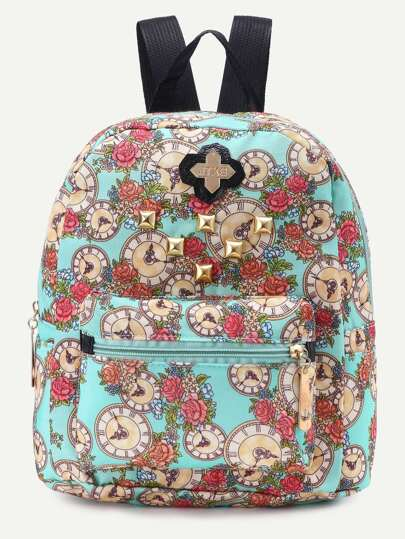 Green Canvas Floral Print Studded Backpack
