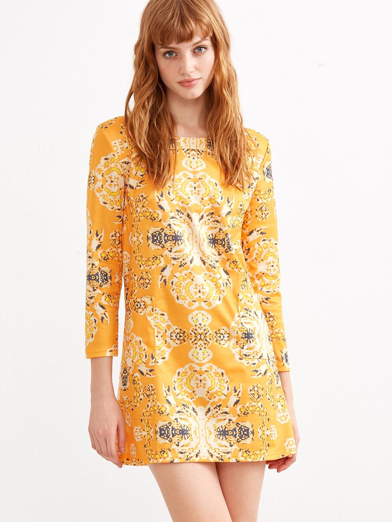 Yellow Vintage Print Pocket Dress -SheIn(Sheinside)