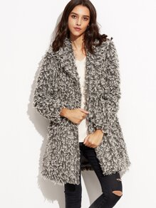 Grey Notch Collar Concealed Button Fluffy Coat