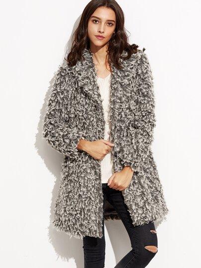 Manteau duveteux manche longue avec poches - gris