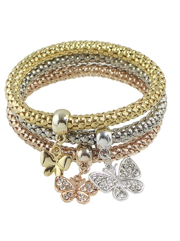Фото Elastic Multicolors Chain Bracelet With Rhinestone Butterfly Charms. Купить с доставкой
