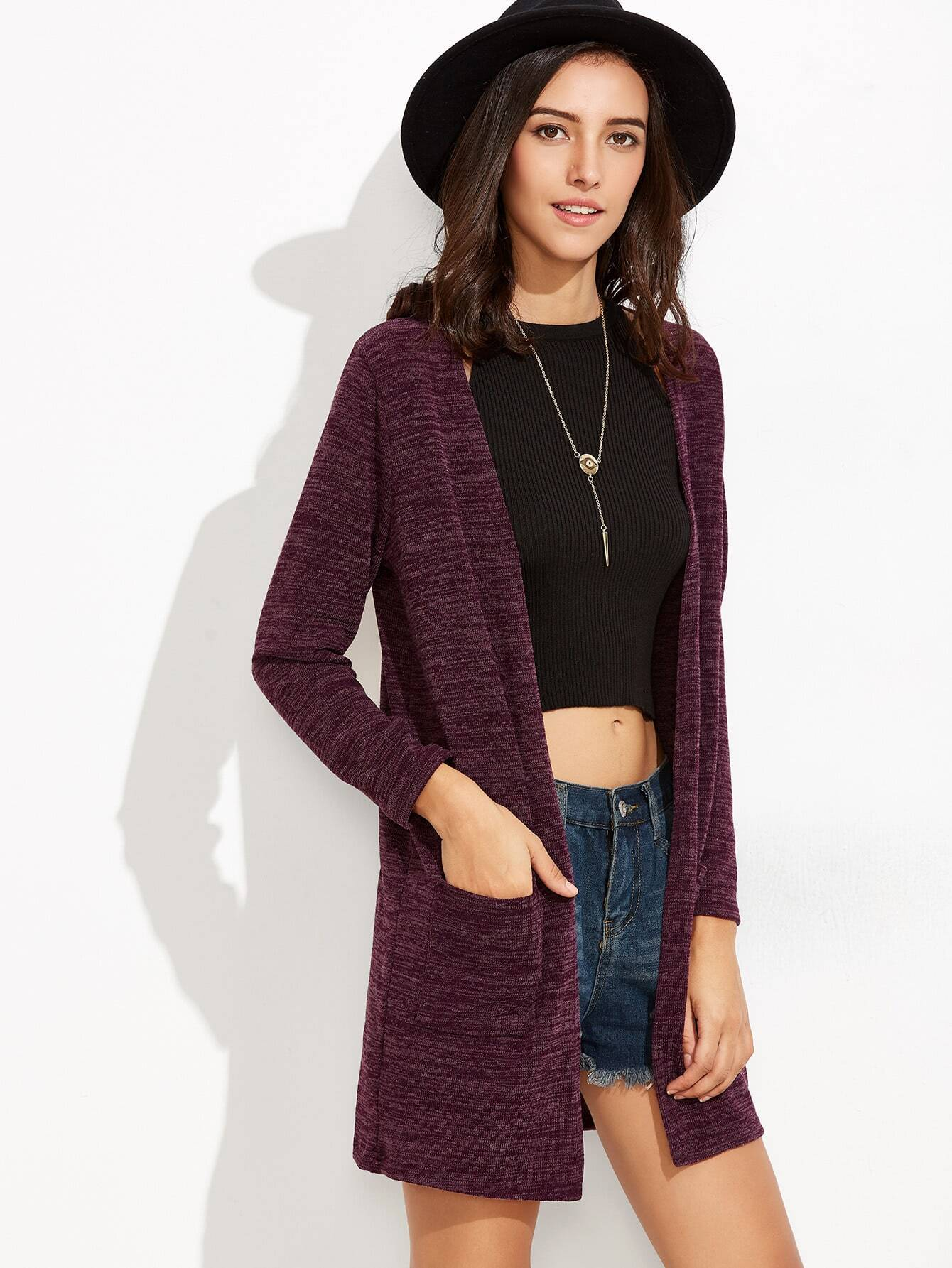 Purple Pockets Long CardiganPurple Pockets Long Cardigan<br><br>color: Purple<br>size: one-size