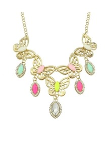 Colorful Stone Butterfly Necklace