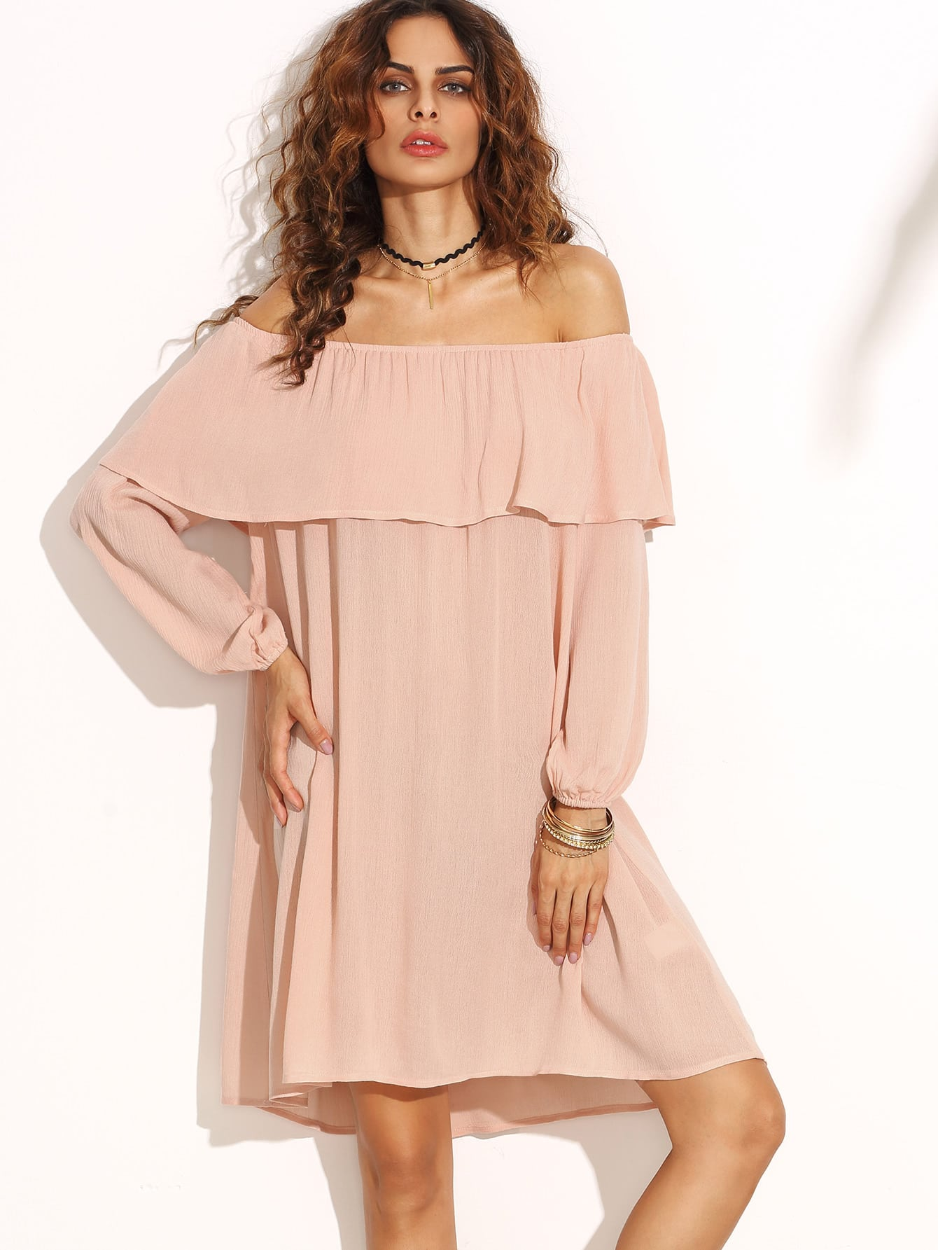 Pink Ruffle Off The Shoulder Swing DressPink Ruffle Off The Shoulder Swing Dress<br><br>color: Pink<br>size: L,M,S,XS