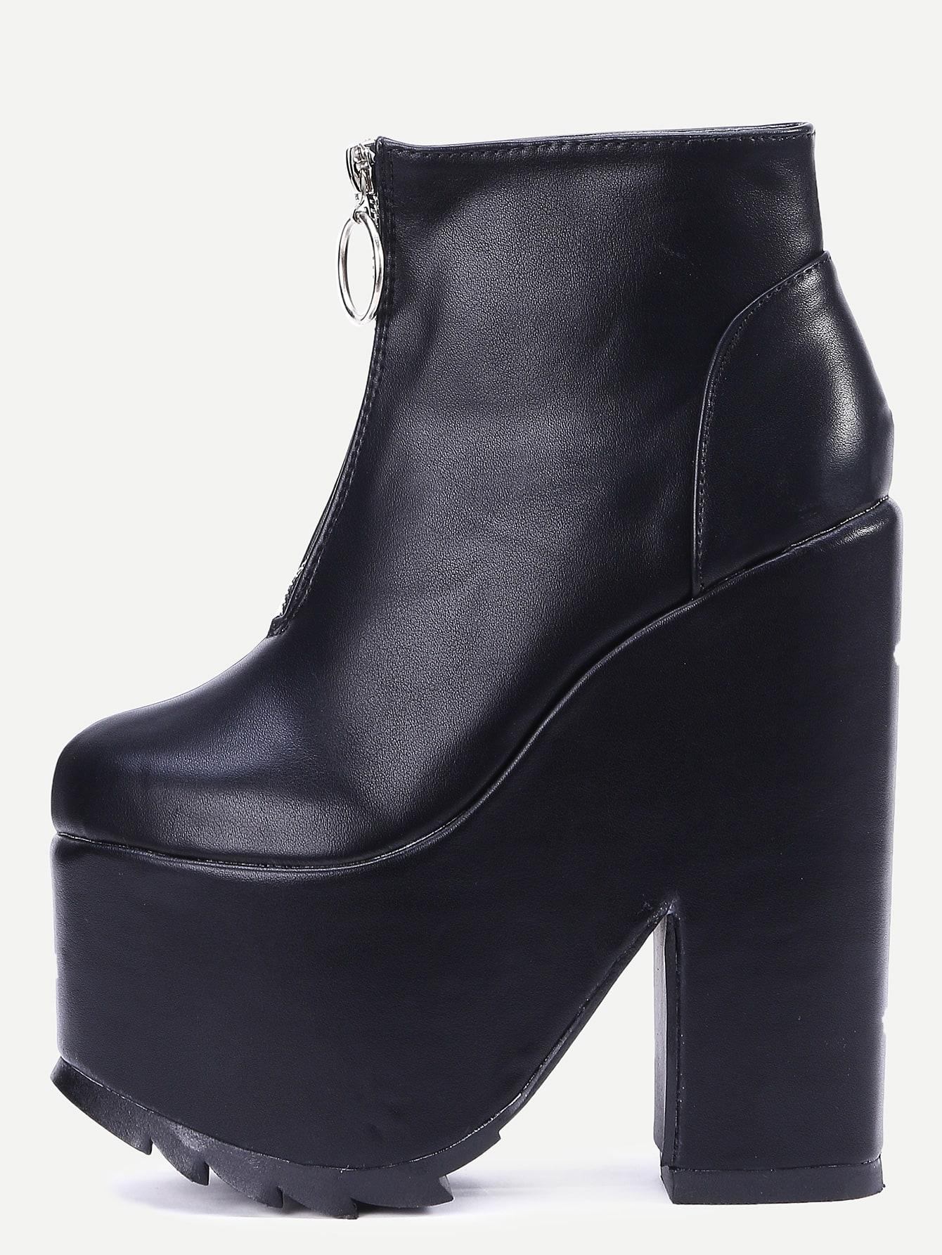 black faux leather zipper platform boots shein sheinside