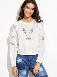 White Rabbit Print Mesh Insert Ruffle Trim Sweatshirt