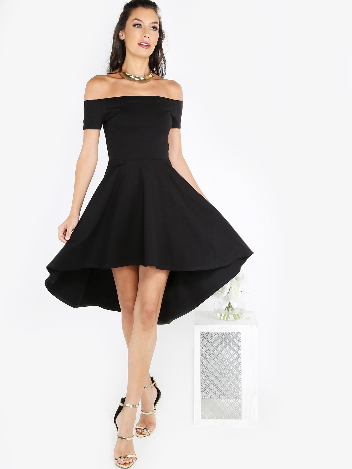 Bardot Dip Hem Skater Dress bardot ruffle layered skater dress