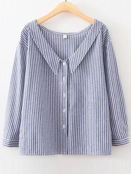 Blue Vertical Striped V Neck Button Up Blouse blouse160826201
