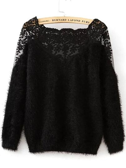 Lace Insert Boat Neckline Mohair Sweater