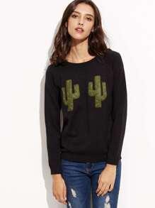 Suéter de manga larga con remiendo negro