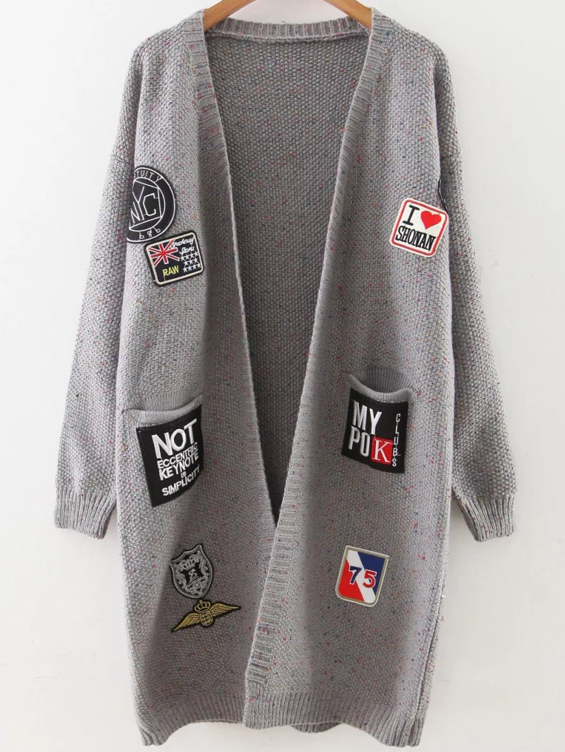 Grey Patch Embellished Drop Shoulder Sweater Coat sweater160831210