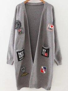 Grey Patch Embellished Drop Shoulder Sweater Coat