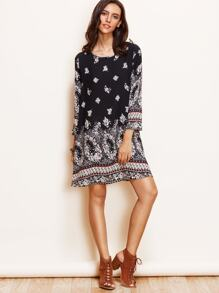 Black Vintage Print Long Sleeve Shift Dress