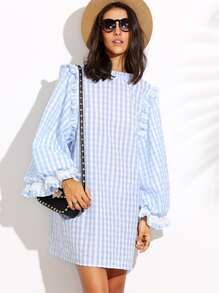 Blue Plaid Bell Sleeve Shift Dress
