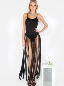 Faux Suede Fringe Matching Set BLACK