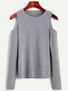 Open Shoulder Knit T-shirt