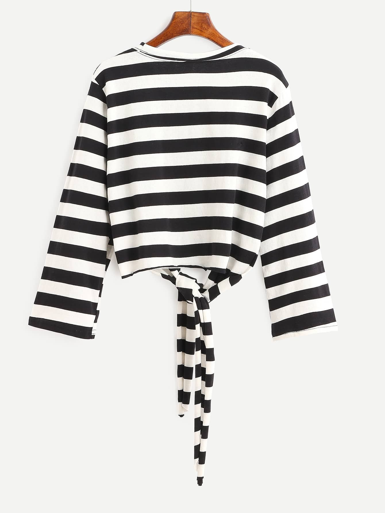 Contrast striped tie front t shirt shein sheinside for Striped tie with striped shirt