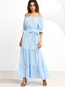 Light Blue Pinstripe Off The Shoulder Tie Waist Ruffle Dress
