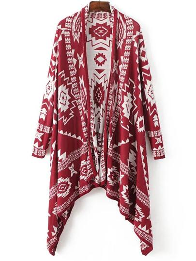 Red Graphic Pattern Asymmetrical Poncho Sweater