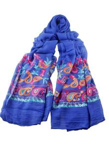 Bufanda estampado floral con estilo bohémico - azul oscuro