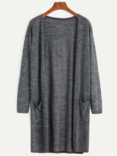 Dark Grey Pockets Long Cardigan