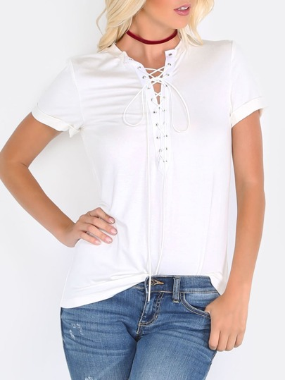 White Eyelet Lace Up Deep V Neck T Shirt Shein Sheinside