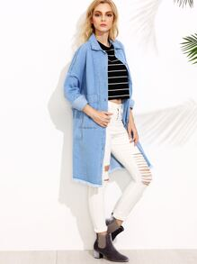 Blue Drop Shoulder Dual Pocket Front Frayed Denim Coat