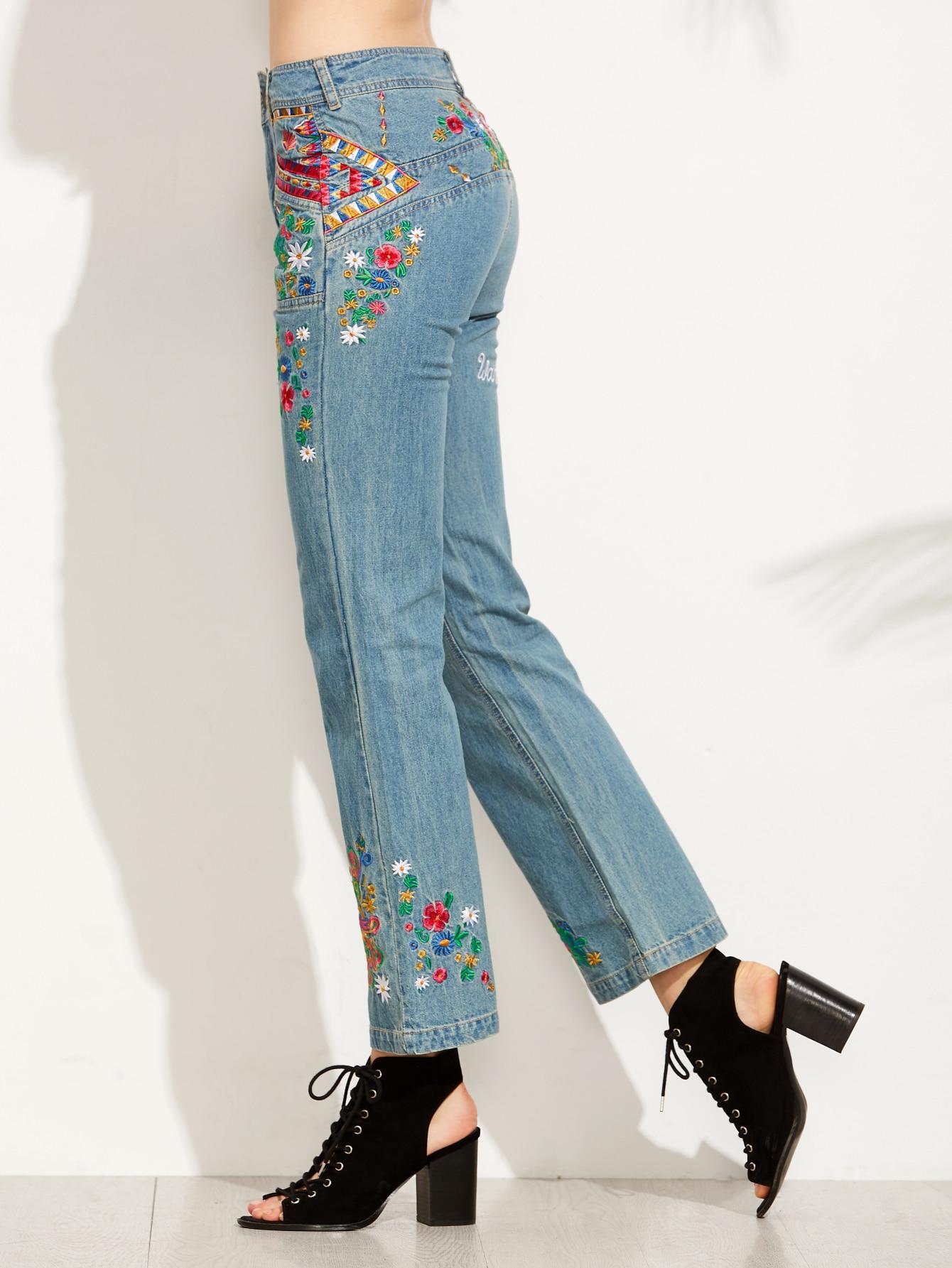 pantalons jeans avec broderie motif fleurs bleu french shein sheinside. Black Bedroom Furniture Sets. Home Design Ideas