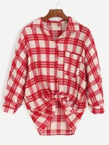 Red Plaid Pocket Tunic Shirt