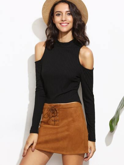 Mock Neck Open Shoulder Crop Top