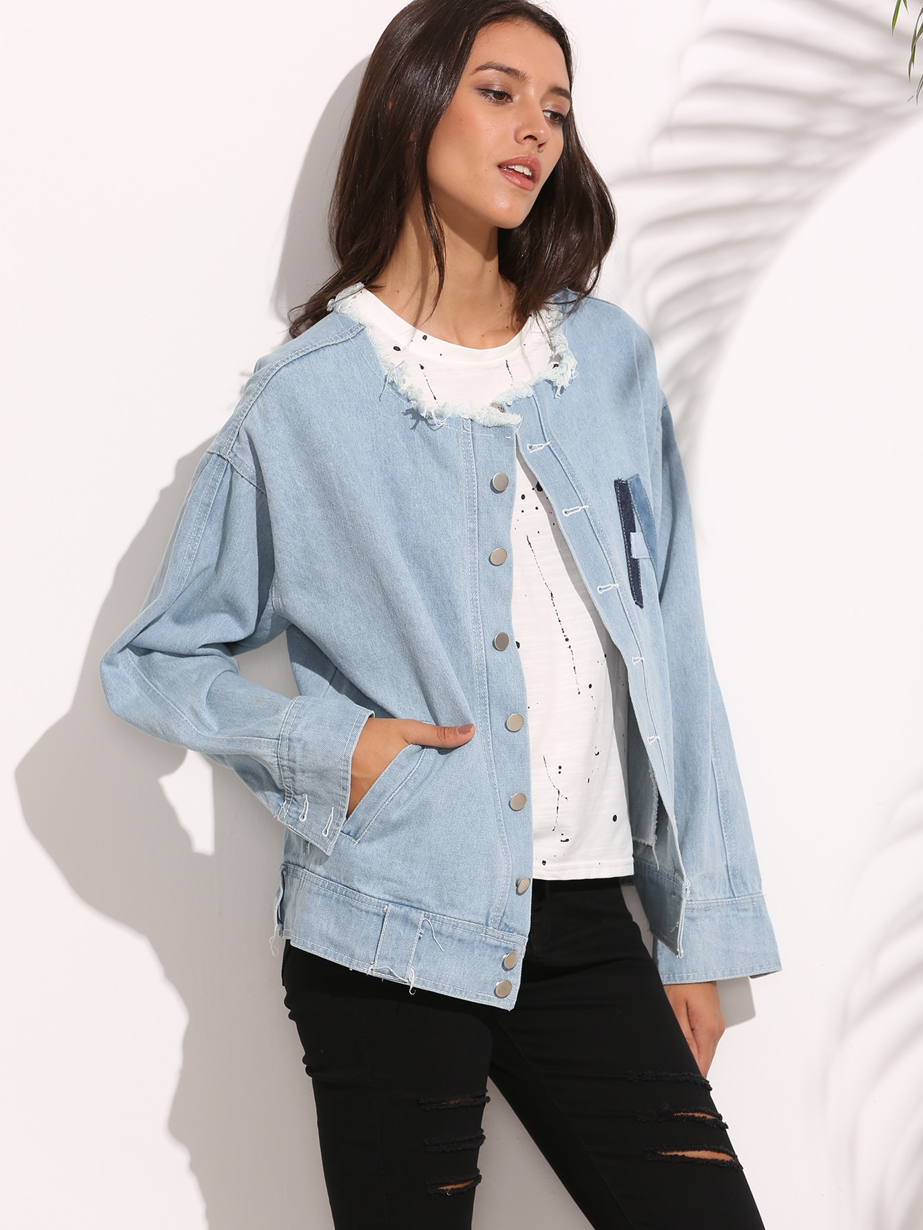 Blue Letter Patch Frayed Boyfriend Denim Jacket two tone patch back letter ribbon detail bomber jacket