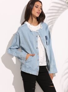 Blue Letter Patch Frayed Boyfriend Denim Jacket