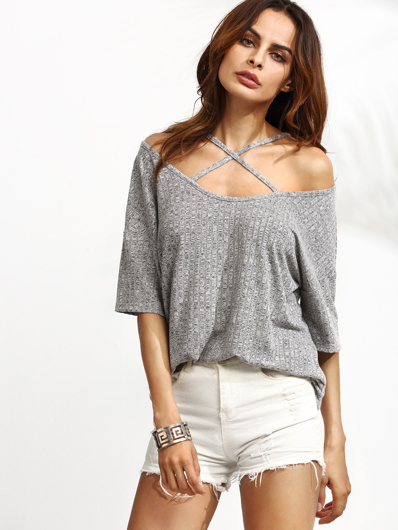 Grey Ribbed Criss Cross Front Cold Shoulder T-shirt tee160818501