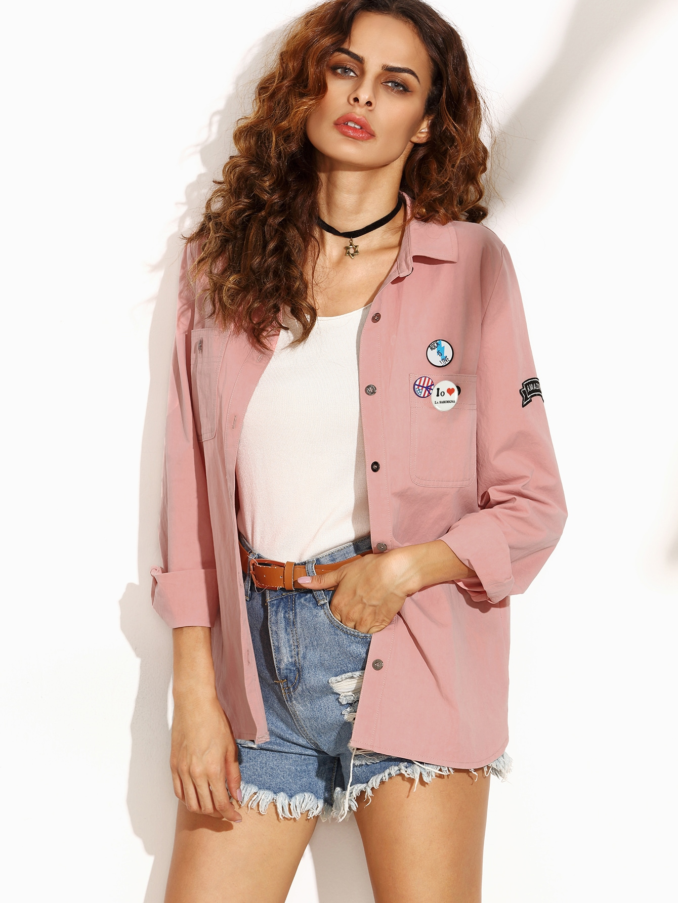 Letter Print Back Shirt Jacket With Badge Detail two tone patch back letter ribbon detail bomber jacket