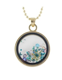Blue Flower Shape Round Pendant Necklace