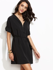 V Neck Roll Tab Sleeve Self Tie Zipper Dress