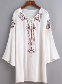 White Lace Up Embroidered Tunic Dress