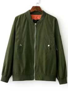 Army Green Embroidery Back Flight Jacket