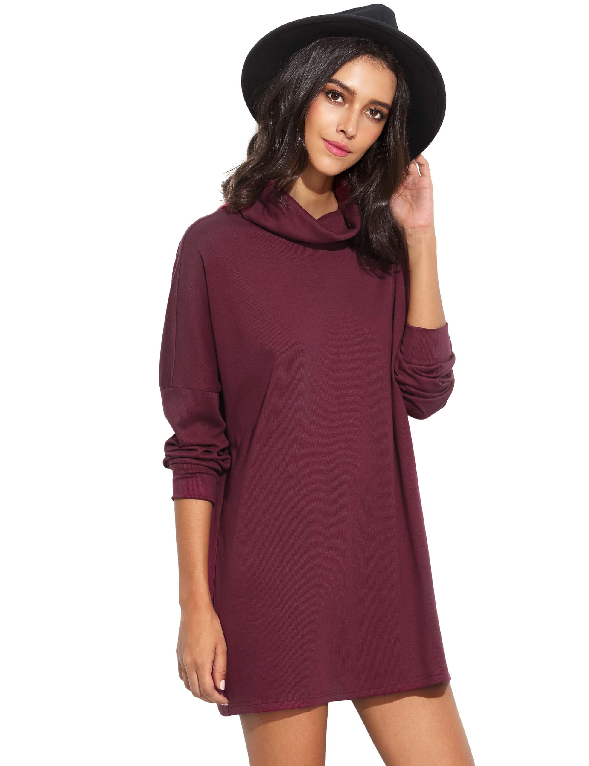Burgundy Turtleneck Drop Shoulder Sweatshirt DressBurgundy Turtleneck Drop Shoulder Sweatshirt Dress<br><br>color: Purple<br>size: M,XS
