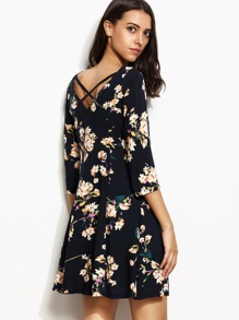 Floral Print V Neck Lattice-Back Skater Dress