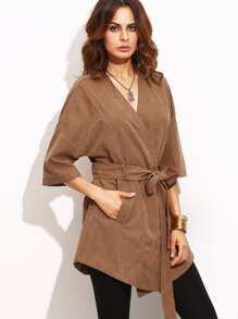 Tie Waist Pocket Half Sleeve Kimono