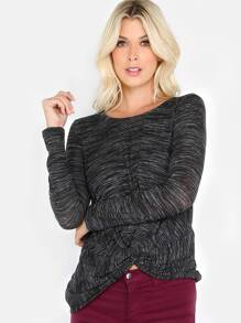 Long Sleeve Striped Knot Top BLACK