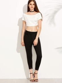 Black Elastic Waist Split Hem Pants