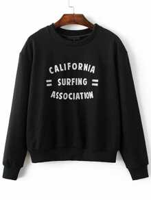 Black Letter Embroidered Long Sleeve Sweatshirt