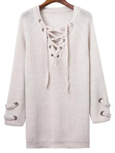 Grommet Lace Up V Neckline Chunky Knit Dress